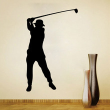 Latest XL 57*91cm Black Vinyl Sports Golf Wall Sticker Home Decor for Men Room(China)