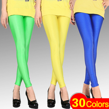 30 Colors Europe and America Style Women's Slim Candy Elasticity Ice Silk Leggings DD3102