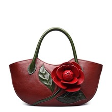 11.11 Super Deal Designer Inspired Ladies Genuine Leather Tote Embossed floral Women bags