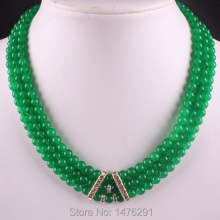 "6MM Green Jades Stone 3 Row Bead Necklace Gems 18""L"