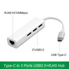 Original USB Type-C to 3 Ports USB2.0 Hub with RJ45 Ethernet LAN Port USB-C OTG Adapter for Apple Air pro Mobile Chromebook XPS