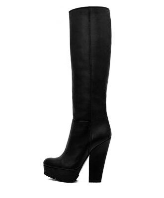 Shofoo Black Leatherette Chunky High Heel Platform Knee-High Women Winter Boots,US Size 5-14<br><br>Aliexpress