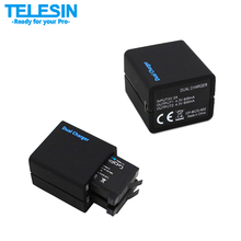 Original TELESIN Dual Slots Battery Charger USB Charging Double Charger With 2 x Battery  For Gopro 4 GoPro Hero4 Black /Silver