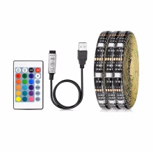 LED Light Black PCB DC 5V 5050 SMD RGB USB cable LED Strip light TV Backlight ribbon lamp RGB remote control 1M 2M 3M 4M 5M(China)