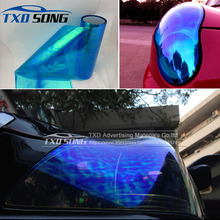 12 Roll/Lot Rainbow Chameleon Headlight Film Taillight Tint Fog Light Vinyl Wrap Chameleon Headlight Film Tint Taillight film(China)