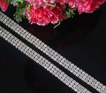 DIY SS12 3mm 2yard 3 Rows Crystal Rhinestone Cup Chain Silver Base With Claw Dress Decoration Trim Applique Sew on Garment Shoes