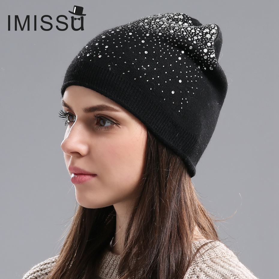 IMISSU Winter Womens Winter Hats Knitted Wool Casual Mask Cap with Crystal Solid Color Ski Gorros Outdoor Hat for GirlsОдежда и ак�е��уары<br><br><br>Aliexpress