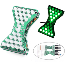 DIY Kit Green LED Electronic Hourglass DIY DC 3.3V-5V Funny Electric Production Kits with LED Double Layer PCB Board for Skills(China)