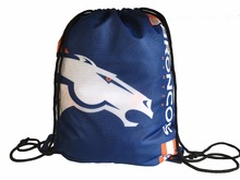 Wholesale 2017 New Fashion Denver Broncos Drawstring Backpack Digital Printing Knitted Polyester Sports Backpack(China)