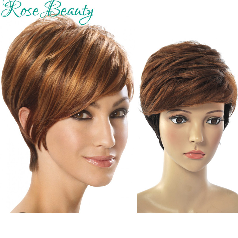 Rose Beauty wig short straight synthetic wigs for black women,cheap ombre wig peruca perruque synthetic women,cute Pixie cut wig<br><br>Aliexpress
