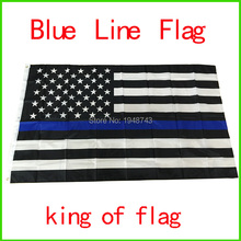 50pcs Wholesale Police ,Cops Flags Flags, 3*5 Foot Thin Blue Line USA Flag Black, White And Blue American Flag With Grommets(China)