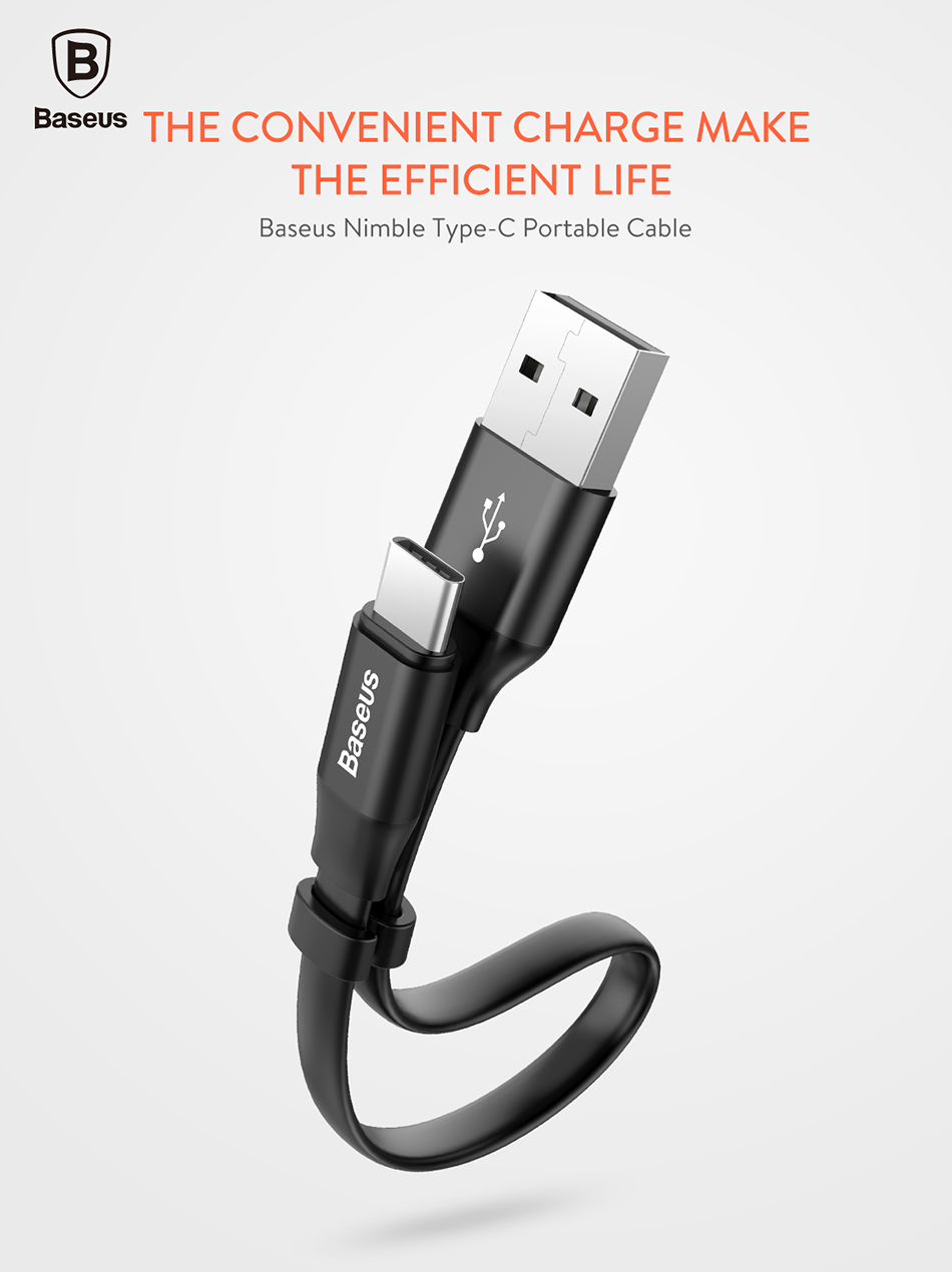 Baseus Portable Type C Cable For Samsung S8 Note 8 Xiaomi Mi6 Mi5 Kabel Lightning Travel Storage Usb Grey Mia1 Mobile Phone Charger Fast Charging