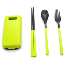 3Pcs/Set Portable Tableware Sets With Folding Combination  Fork Bento Outder Box Tableware Kitchen Tool
