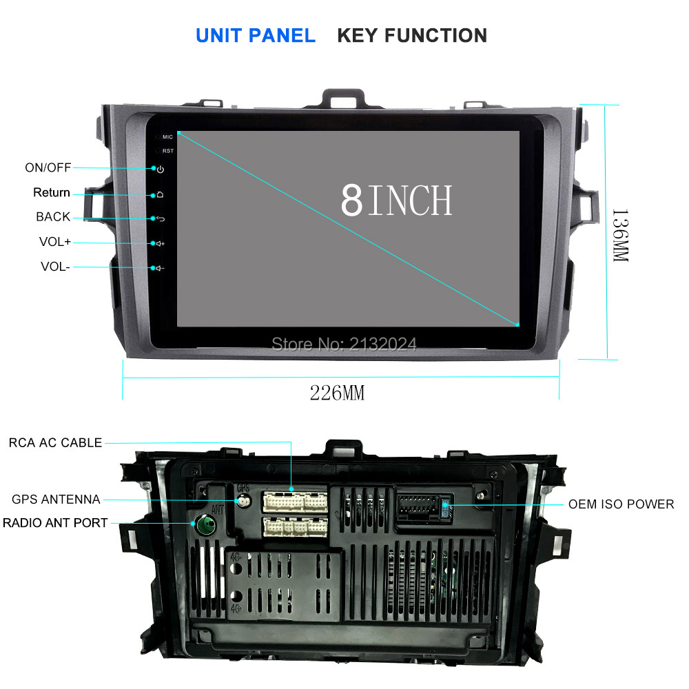 For Toyota Corolla E120 BYD F3 2 DIN car DVD player with GPS Radio stereo STW capacitive screen Audio USB multimedia navigation