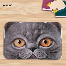 Discount home decor big cat face prited flannel soft door mat floor mats bath kitchen carpet 40x60cm living room tapete antislip(China)