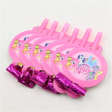 My Little Pony Blowouts Party Birthday Blow Outs Whistle Kids Favours My Little Pony party supplies 6pcs(China)