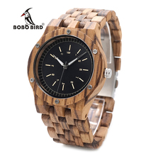 BOBO BIRD WN12 Wooden Watches Mens Brand Luxury Zebra Wood Band Quartz Watch Accept Logo Laser Customized Dropshipping(China)