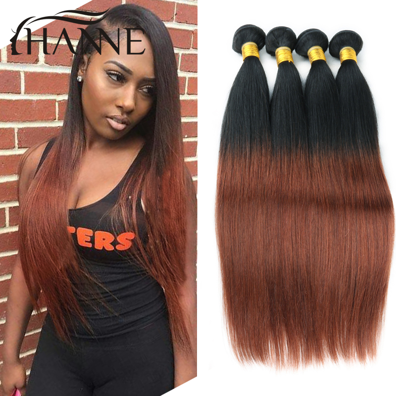 Ombre Peruvian Straight Hair 3 bundles dark brown Ombre Human Hair Extension 1B#33 human Hair Weave Bundles Hanne colorful hair<br><br>Aliexpress