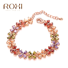 ROXI Bracelet For Women Fashion Clover Bracelet With Multicolored Crystal Jewelry For Engagement Wedding Gift Pendant Charm