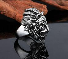 Titanium Stainless Steel Lion Head Rings For Men Allergy Free Punk Rock Jewelry Non-Mainstream Cool Mens Rings Party Accessory(China)