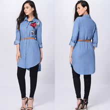 2017 Summer Loose Casual Dresses Long-sleeved Denim Shirt Dres Flower Embroidery Lady Large Size Shirt Dress Vestidos For Femme
