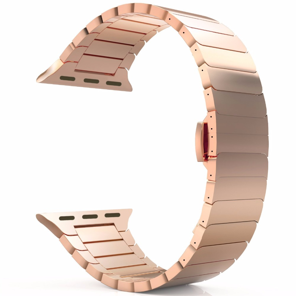 Stainless Steel Replacement Link Bracelet Strap Classic Wristband with Butterfly Buckle Clasp for Apple Watch All Series Version<br>