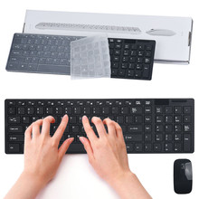 Best Price Luxury Ultra Slim Mini 2.4G Wireless Optical Keyboard Mouse Kit For PC Laptop(China)