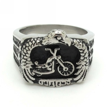 Size 8-13 Classic Design 316L Stainless Steel Black Silver Rings For Men Vintage Style Biker Star Motorcycle Claw Eagle Ring New
