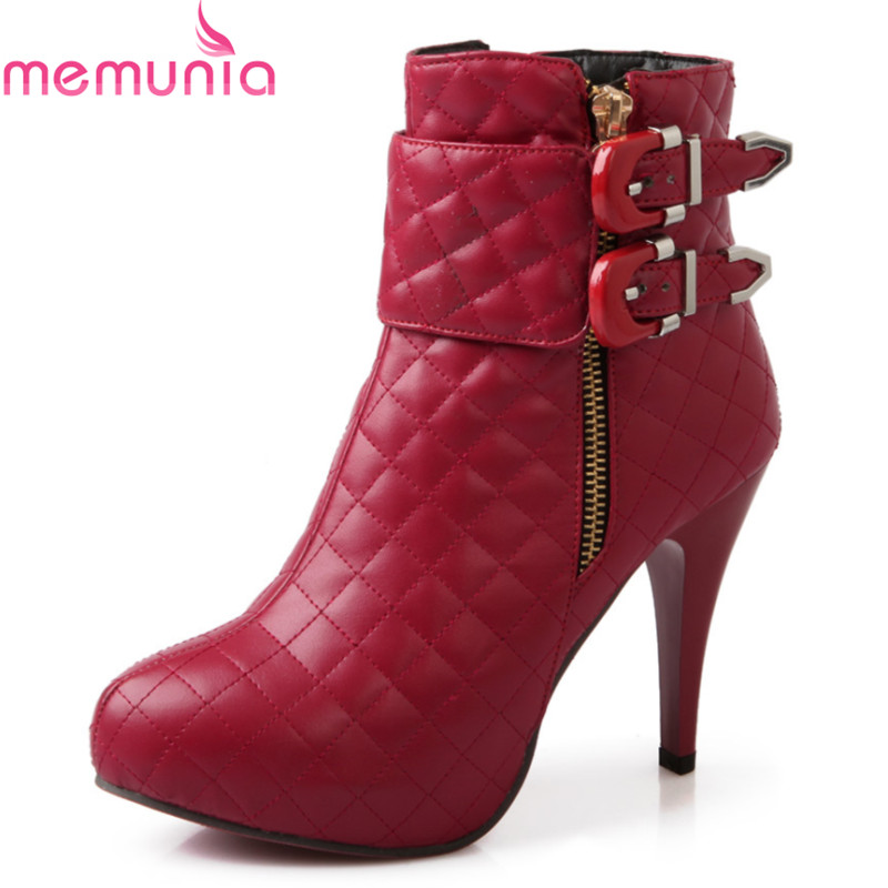 plus size 34-43 2017 new arrival round toe platform shoes woman stiletto high heels fashion buckle autumn winter ankle boots<br><br>Aliexpress