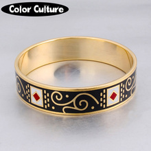 Luxury Classic Woman Bracelets & Bangles Pattern Design Black Enamel Bangles for Women Custom Jewelry(China)