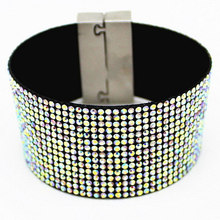 AB Crystal Leather Bracelet Wholesale Fashion Cuff Bracelets, Diamante Women bracelets, Micro Pave CZ Woven Belt+Magnetic Clasp(China)