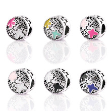 New Silver Plated Bead Charm Enamel Springtime With dragonfly & butterfly Beads Fit Pandora Bracelet Bangle DIY Jewelry HKA0078