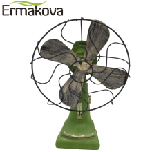ERMAKOVA Retro Resin Electric Fan Figurine Vintage Fan Craft Bar Coffee Shops Decorative Statues Sculptures(China)