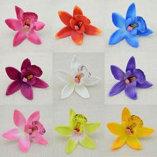 Free Shipping 10PCS cheap silk flower Cymbidium simulation artificial flower wedding flower butterfly orchid artificial flowers(China)