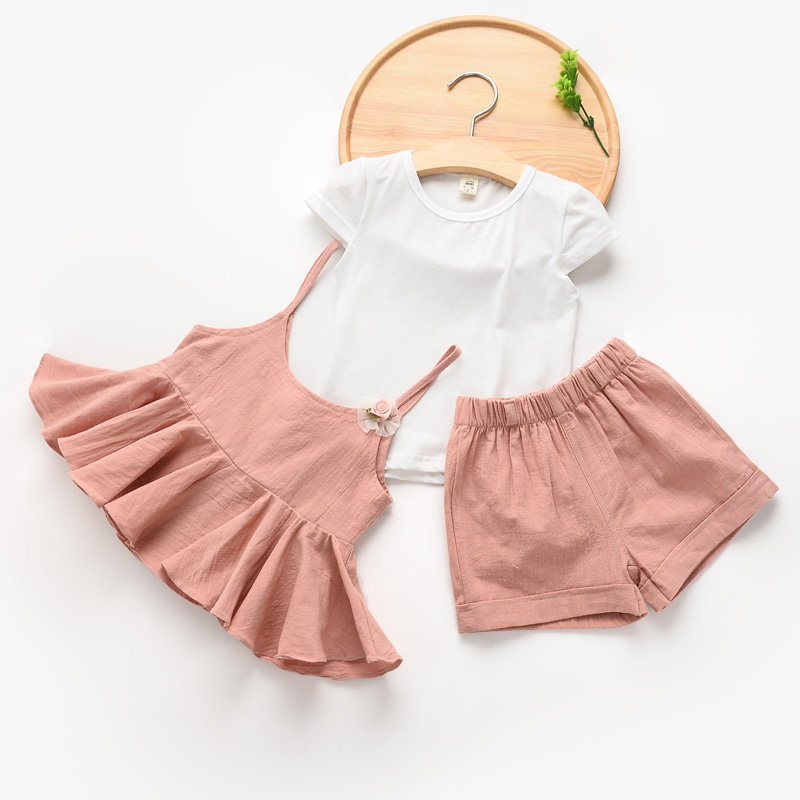 [Bosudhsou.] #K-80 Summer Casual Clothes Suit Children Short Sleeve T-shirt + Short Pants braces skirt Girl Clothing Sets Kids<br><br>Aliexpress