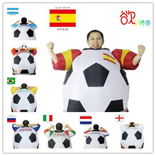 2017 New Soccer Inflatable Costume Football for Halloween Party Mascot Fancy Blow Up Dress Carnival Inflatable Ball Suit(China)