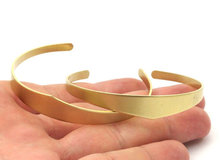 2 Raw Brass Cuff Bracelet Blank Bangle Without Holes ( Width 4 to 10 mm) brass 0088-21