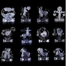 DIY 3D Jigsaw Crystal Puzzle 12 Zodiac Aquarius  Virgo Gemini Constellation Plastic Home Decoration Birthday Gift wiht LED light