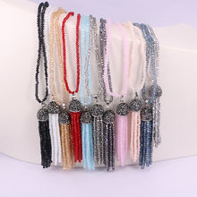 5 Strands Bohemian Boho Crystal Glass Beads Necklace Long Tassel Charm women necklace(China)