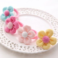 M MISM New Women Kids Scrunchy Flower Ball Hair Ponytail Holder Headband Hair Accessories Lady Girls Floral Elastic Hair Band