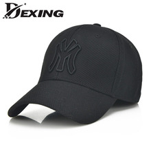 brand letter M black full baseball cap snapback hat men women winter fitted hat Full Closed Hats Male Sport Gorras Cap Bones(China)