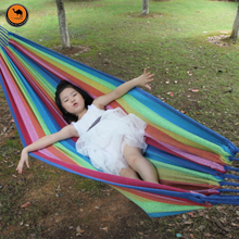 Portable Hammock 200*100cm Hanging Sleeping Bed Parachute Nylon Fabric Outdoor Camping Hammocks Double Person Swing Bed(China)