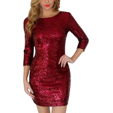 Buy Fashion Sexy Women Sexy Dress Autumn Female O Neck Long Sleeve Paillette Sequins Backless Slim Pencil Party Dresses for $11.76 in AliExpress store