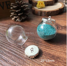 20sets 25mm (Opening 15mm) Large Clear Glass Globe Bottle with Silver Plated Brass Crown Cover jewelry necklace vials pendants