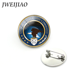 JWEIJIAO Glass Cabochon Silver Military Brooch United States Cyber Command Blue Planet White Dove Picture Jewelry Gift MI013(China)