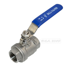 "MEGAIRON BSPT 1/2"" DN15 Female Stainless Steel SS316 2 Piece Full Port Ball Valve with Vinyl Handle Thread Valves Max 1000psi"