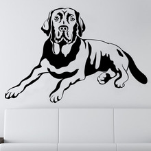 Art Decor Shadowed Lad Labrador Dog Wall Sticker PVC Hollow Out Animal Living Room Home Decor Wall Decor M442(China)