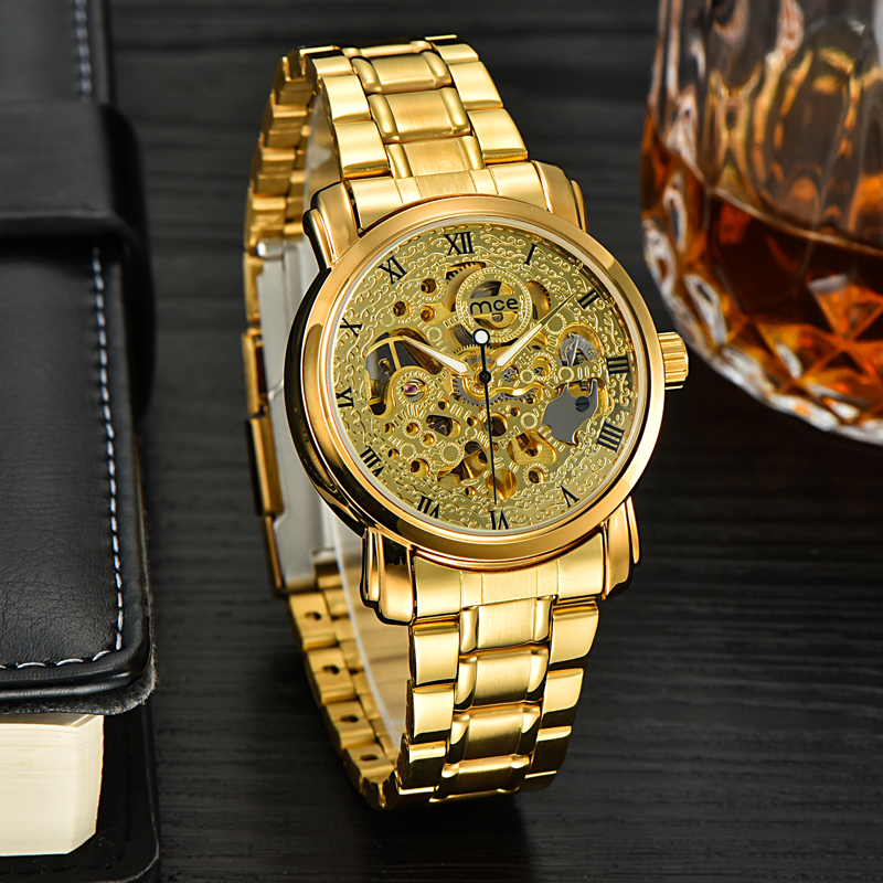 MCE Luxury Gold Watch Men Mechanical Automatic Skeleton Montre Homme Fashion Male Wrist Watches Luminous Orologio Uomo With Box<br><br>Aliexpress