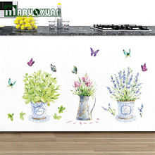 Home Kitchen Window Glass Bathroom Decoration Potted Flower Pot Butterfly DIY Wall Stickers Decals Waterproof(China)