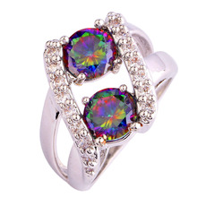 lingmei Wholesale Fashion Jewelry Extravagant Rainbow & White CZ Silver Color & 18K White Gold  Ring Size 6 7 8 9 10 11 12 13